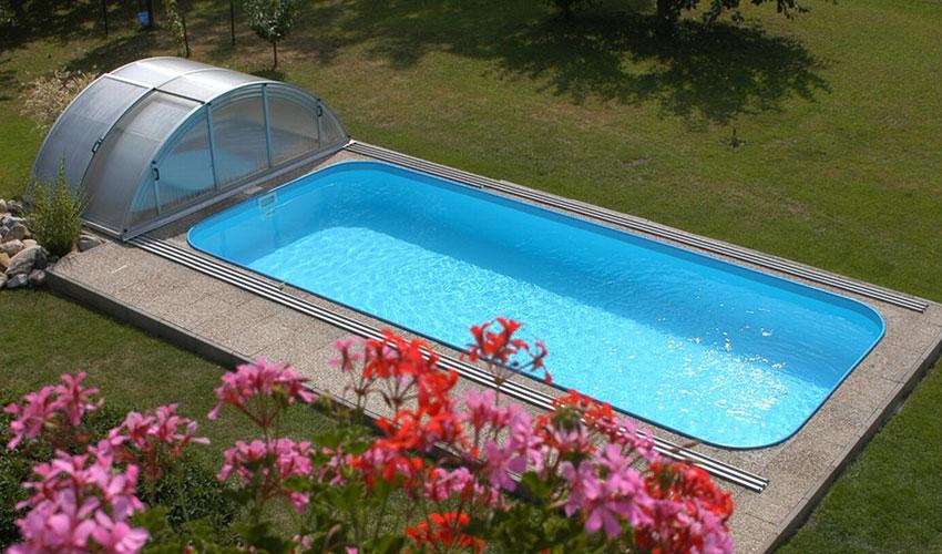 Бетонный прямоугольный бассейн с павильном. Заказать в Крыму (Симферополь)